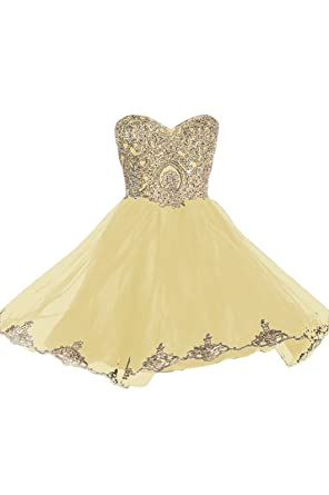 Prom Dresses Short Lace Prom Homecoming Dresses Affordable Beautiful Sparkly Dress, Color Yellow,6