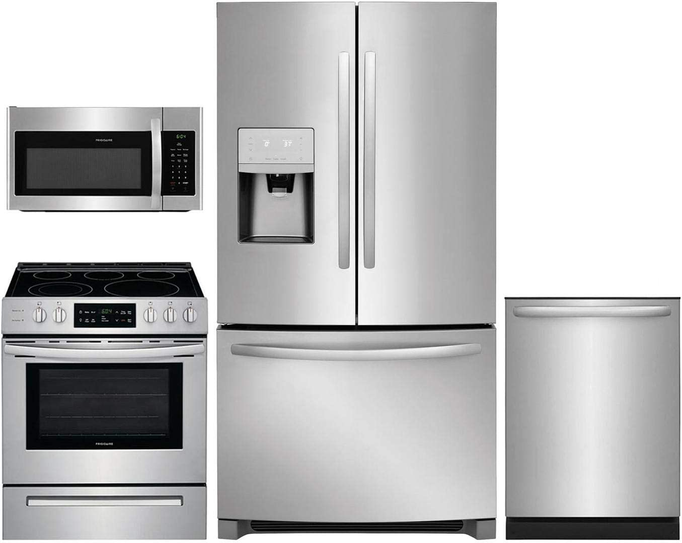 """Frigidaire 4 Piece Kitchen Appliance Package with FFHB2750TS 36"""" French Door Refrigerator FFEH3054US 30"""" Electric Range FFMV1645TS 30"""" Over the Range Microwave and FFID2426TS 24"""" Built In Fully Integrated Dishwasher in Stainless Steel"""