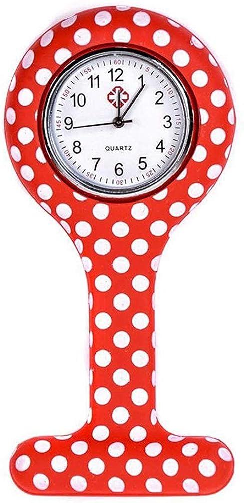Reloj de Las Mujeres, Moda mxdmai Enfermera con Clip Fob Reloj análogo de Cuarzo de Silicona Enfermera del Bolsillo de la Broche de la Jalea del silicón del Reloj Colgante de Bolsillo con Pila de BOT