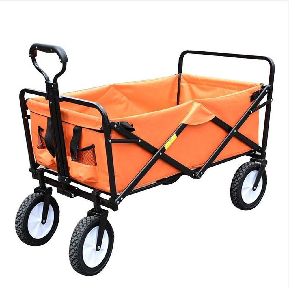 キャリーカートアウトドアワゴンベルトベルト ウォッシャブル オックスフォード布 折りたたみ可能 鋼管 タイロッドは25cm伸び、 85×50×28cm、 4色 (色 : Orange) B07G16T5BM  Orange