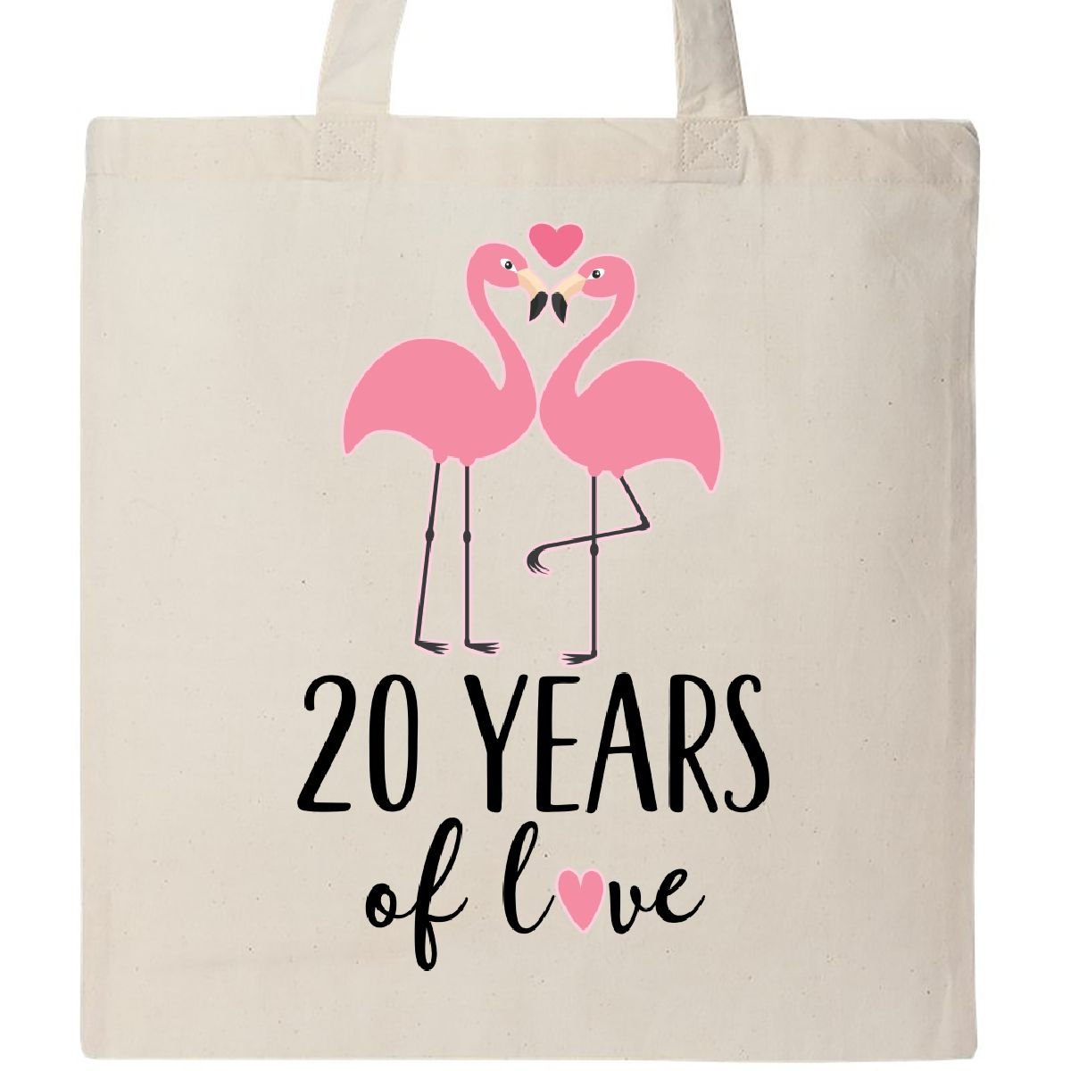 Inktastic - 20th Wedding Anniversary Gift Flamingo Tote Bag Natural