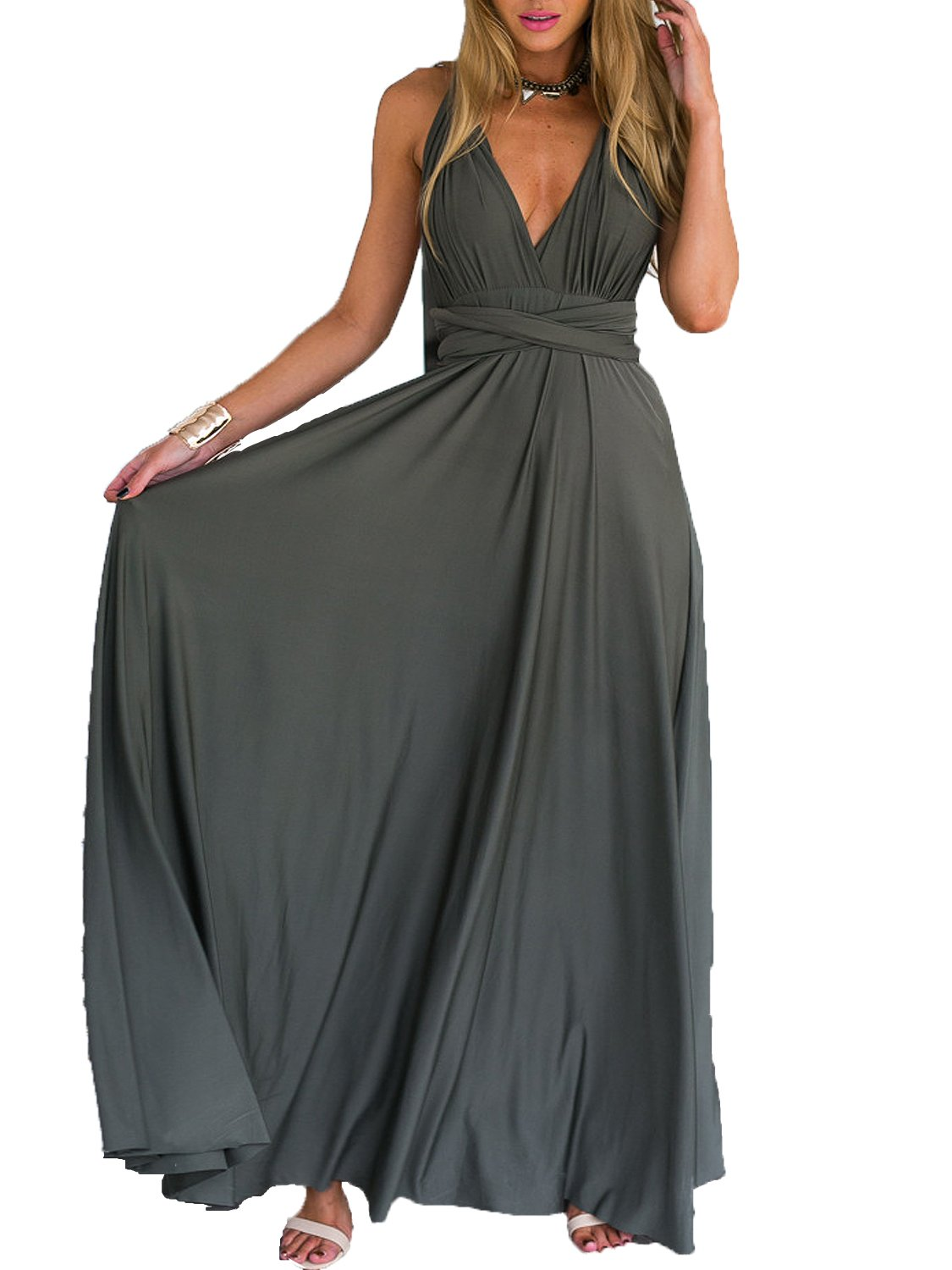 Clothink Women Gray Summer Deep V Neck Prom Dress M