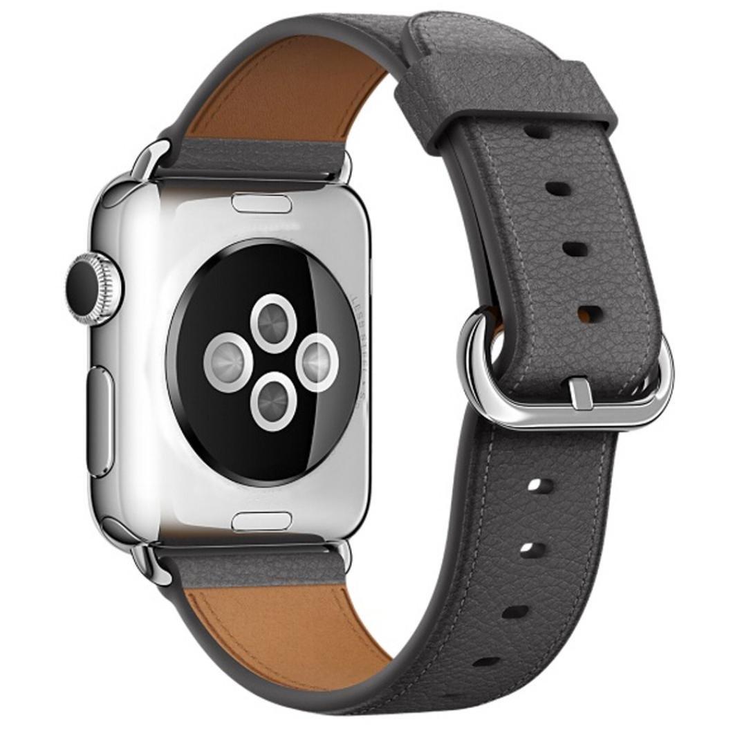 For Apple Watchバンド38 mm / 1.5インチ、Transerラグジュアリーレザー手首腕時計ストラップブレスレットバンドiWatch Apple Watchシリーズ3 グレー グレー B079M3P9LK