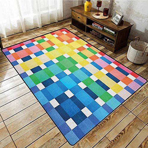 Classroom Rug,Checkered,Rainbow Colors Contiguous Big and Small Squares in Watercolor Style Geometrical,Anti-Static, Water-Repellent Rugs,6'6