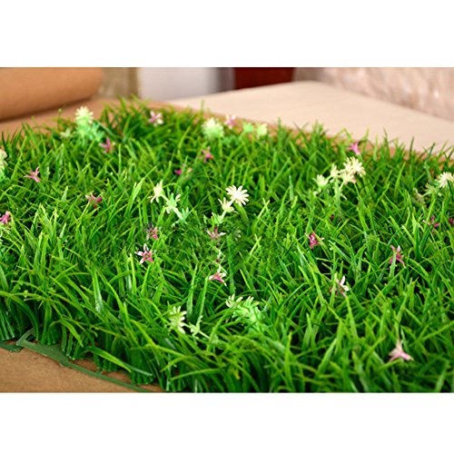 XHSP 1 pc Plastic Artificial Green Grass Lawn Seedling Carpet Landscape Indoor Outdoor Decor with Flowers/9.8