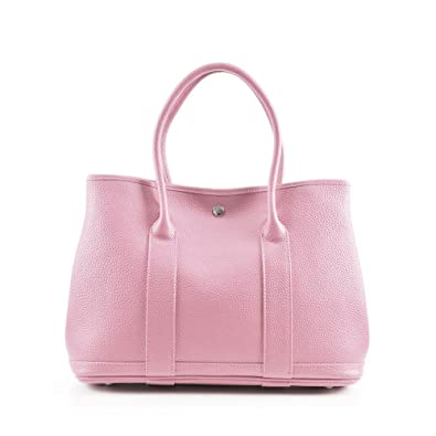 f934379c56 Amazon.com  GENUINE REAL LEATHER GARDEN PARTY TOTE - Women Famous Brand  Candy Color Casual Shopper Shopping Hobo Shoulder Bag Handbag Bolsa Color  Baby Pink ...