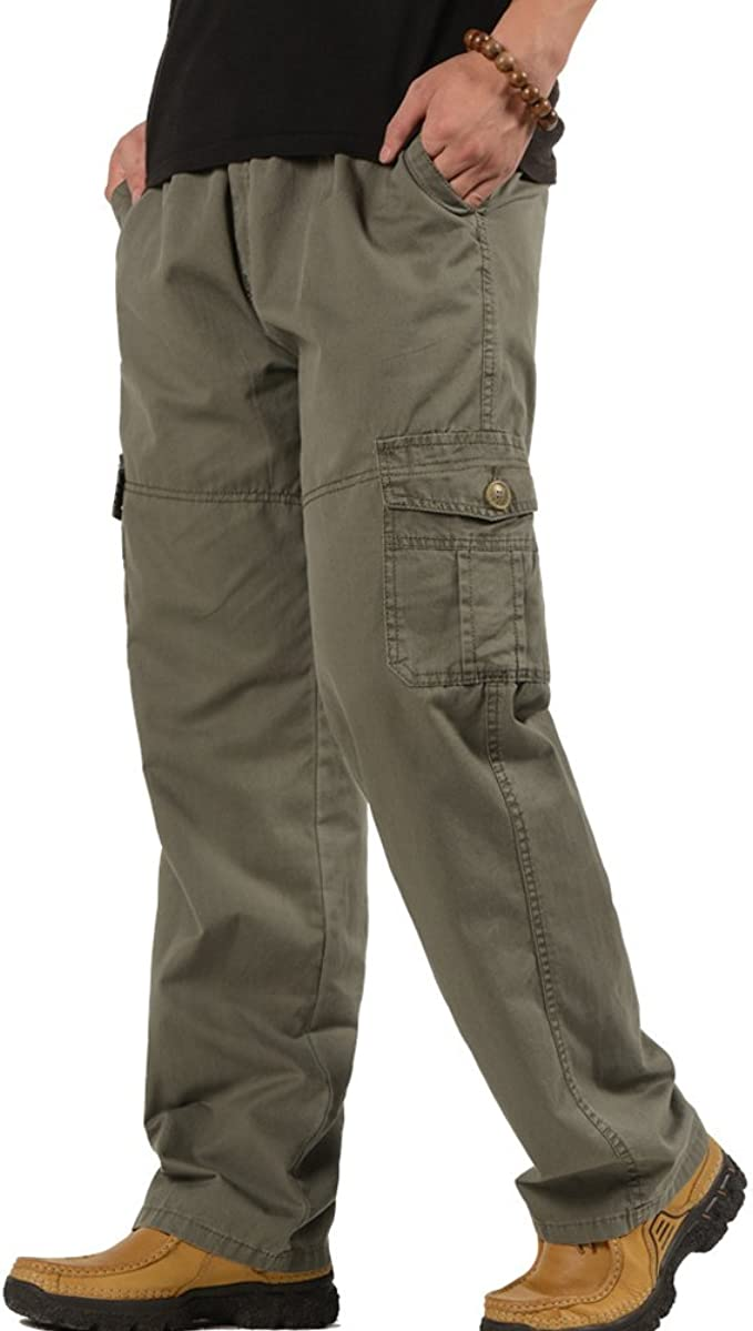 Mens Elastic Waist Trousers Casual Pants Long Loose Bucket Big Straight Pants
