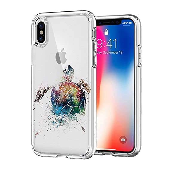 competitive price 06728 e4f1f iPhone X Case, JICUIKE [Color Printed] Cute Animal Pattern Painted Silicone  Protective Skin Ultra Slim Clear Soft TPU Bumper Back Cover for iPhone X ...