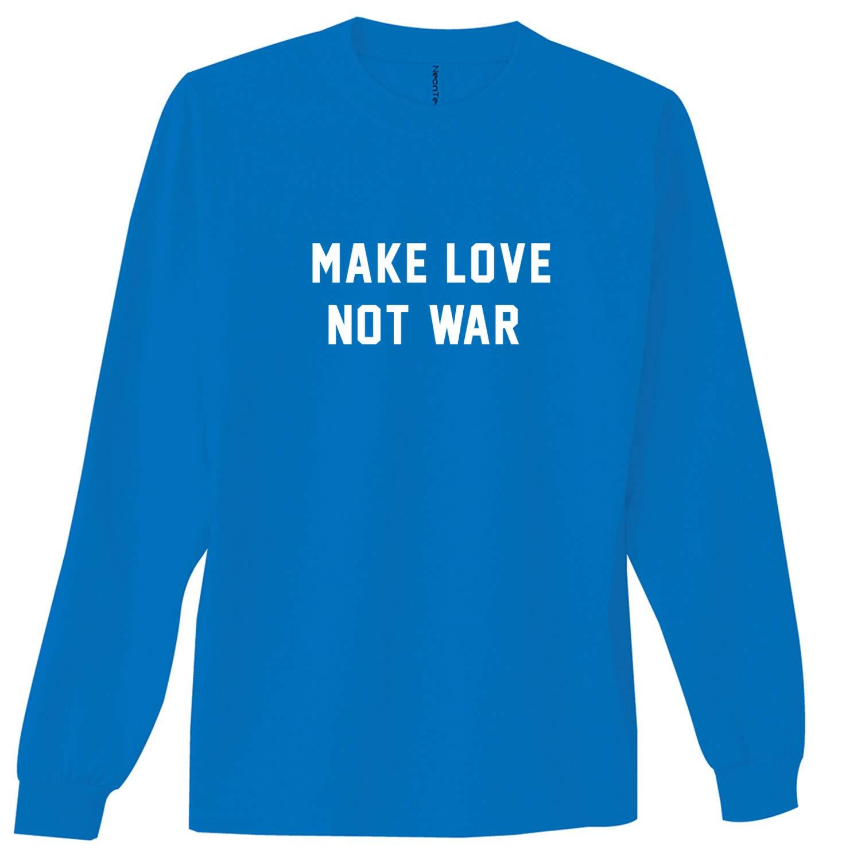 Make Love NOT WAR Neon Blue Adult Long Sleeve T-Shirt - XX-Large by ZeroGravitee (Image #1)