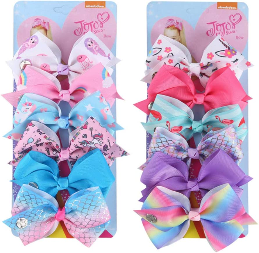 Trendy 12PCS Colorful Bowknot Hairpin Kids Baby Girls Hair Bow Clips Barrette