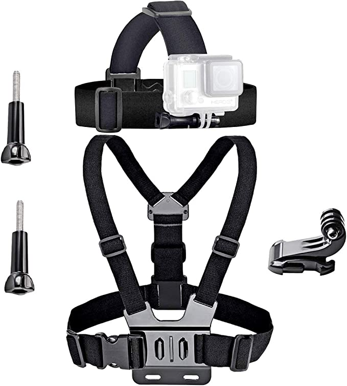 Carry Bag Set for GoPro HERO7 //6//5 //5 Session //4 Session //4//3+ //3//2 //1 Monopod Tripod Mount Adapter Head Strap Xi for MOBILEACCESSORIES TL YKD-127 6 in 1 Chest Belt Floating Bobber Monopod