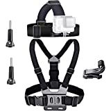 VVHOOY Universal Head Strap Mount Chest Strap Harness and Screw Adapter Compatible with Dragon Touch 4K,AKASO EK7000,Brave 4,