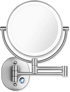 "Pansonite LED Wall Mount Makeup Mirror with 10x Magnification, 8.5'' Double Sided 360° Swivel Vanity Mirror with 13.7"" Extension and Adjustable Light for Bathroom & Bedroom, Chrome Finished"