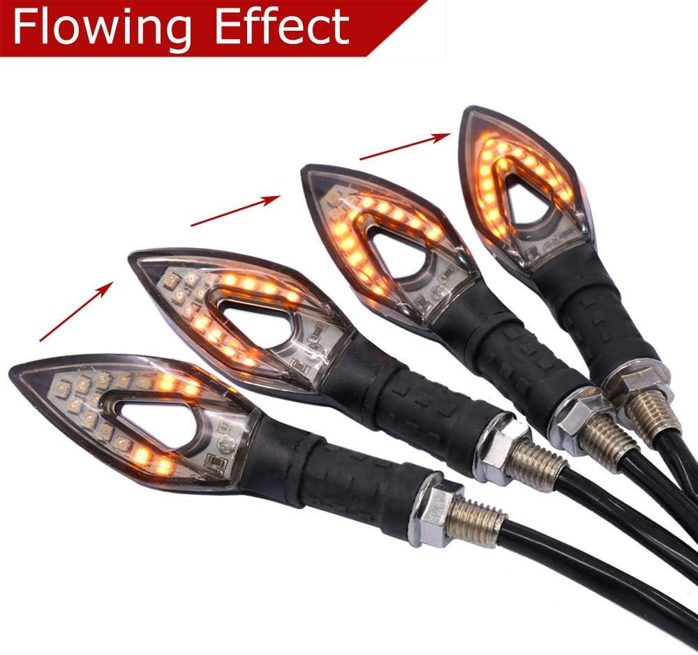 Evermotor Universal Motocicleta Fluido Indicadores LED de luces a prueba de agua impermeables 4 piezas Secuenciador de efectos de marcha en secuencia intermitente