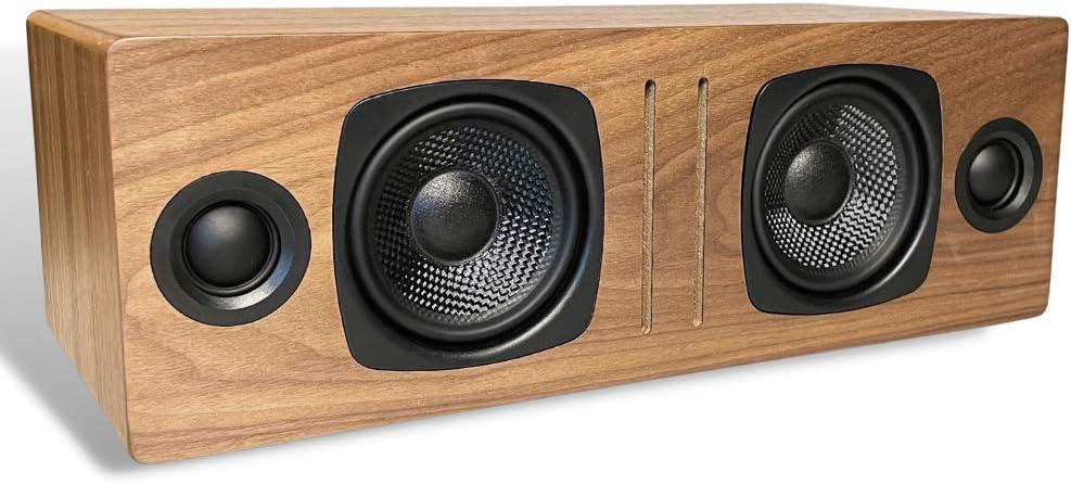 Audioengine B2 Wireless Bluetooth Speaker   Home Music System Desktop Speaker with aptX Bluetooth, 60W Powered Wireless Tabletop Speaker   AUX Audio Input for Phone, Tablet, Computer (Walnut)