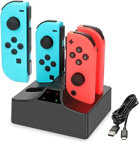 Nintendo Switch Joy-Con Charger, YCCTEAM 4 en 1 Estación de carga ...