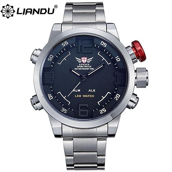 Regalo para Hombre Epozz Beauty Sport Full pantalla Led acero marca relojes Hombre Reloj Masculino Relogio o cama de matrimonio de escalada relojes Hombre ...