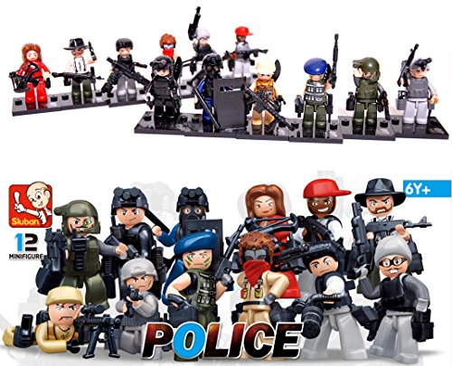 Skyoos Inc. LEGO Mini Figures Collection - Set Of 12 Lego Cops & Robbers Character Figures- Compatible With Lego & Major Brands – Premium Lego Police Set For Hours Of Adventure Play