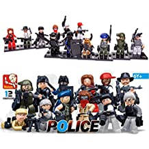 Skyoos Inc. LEGO Mini Figures Collection - Set Of 12 Lego Cops & Robbers Character Figures- Compatible With Lego & Major Brands - Premium Lego Police Set For Hours Of Adventure Play