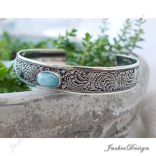 abeb36faa37 Amazon.com  Larimar Bali Ocean Wave Ornate Handmade 925 Sterling Silver  Bangle Cuff Bracelet JD184  Handmade