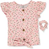 One Step Up Girls' Floral Peasant Top with Scrunchie