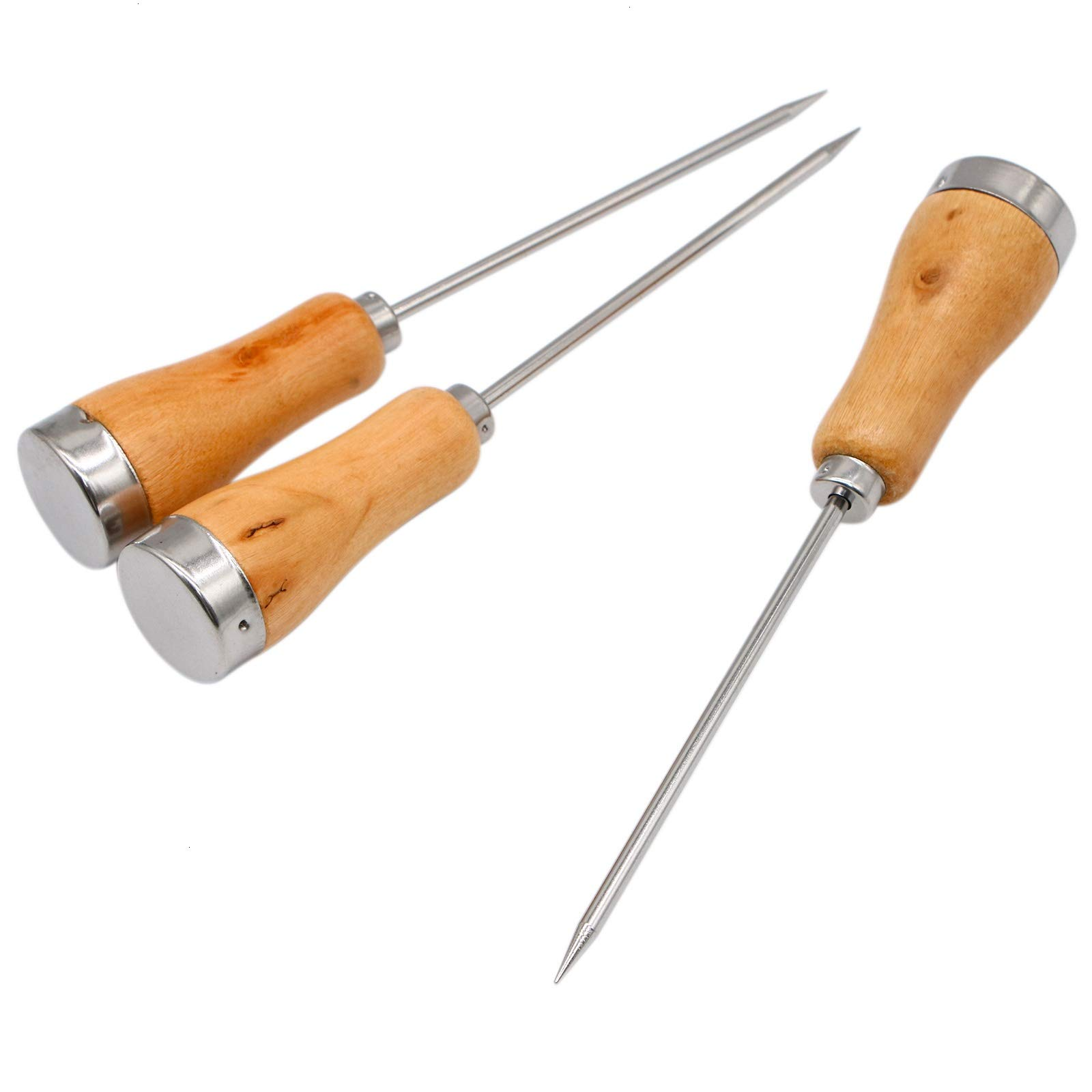 AQUEENLY Stainless Steel Ice Pick with Safety Wooden Handle for Kitchen, Bar, 8.6 Inches, 3 PCS by AQUEENLY (Image #3)