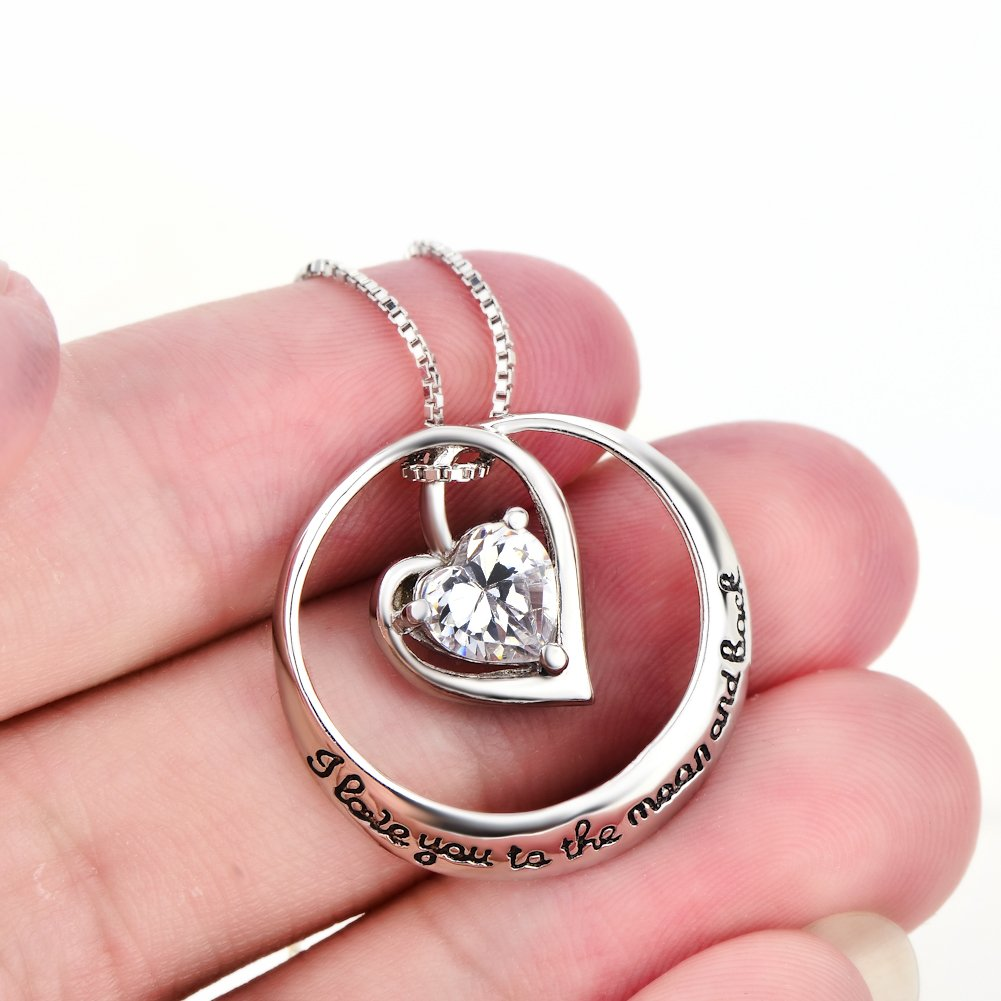 YFN I Love You to the Moon and Back 925 Sterling Silver Open Heart Love Necklace 18'' by YFN (Image #6)