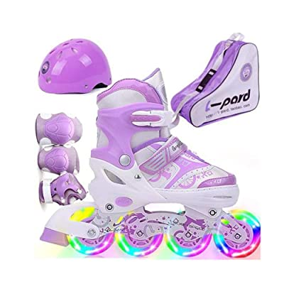 ZMCOV Adjustable Inline Skate, Illuminating Roller Skates, Great for Beginners, Comfortable Roller Skates, Inline Skates for Girls and Boys, Purple, 31~34 : Sports & Outdoors
