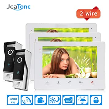 Jeatone 2 Wired Video Door Phone Home Security Intercom Entry System