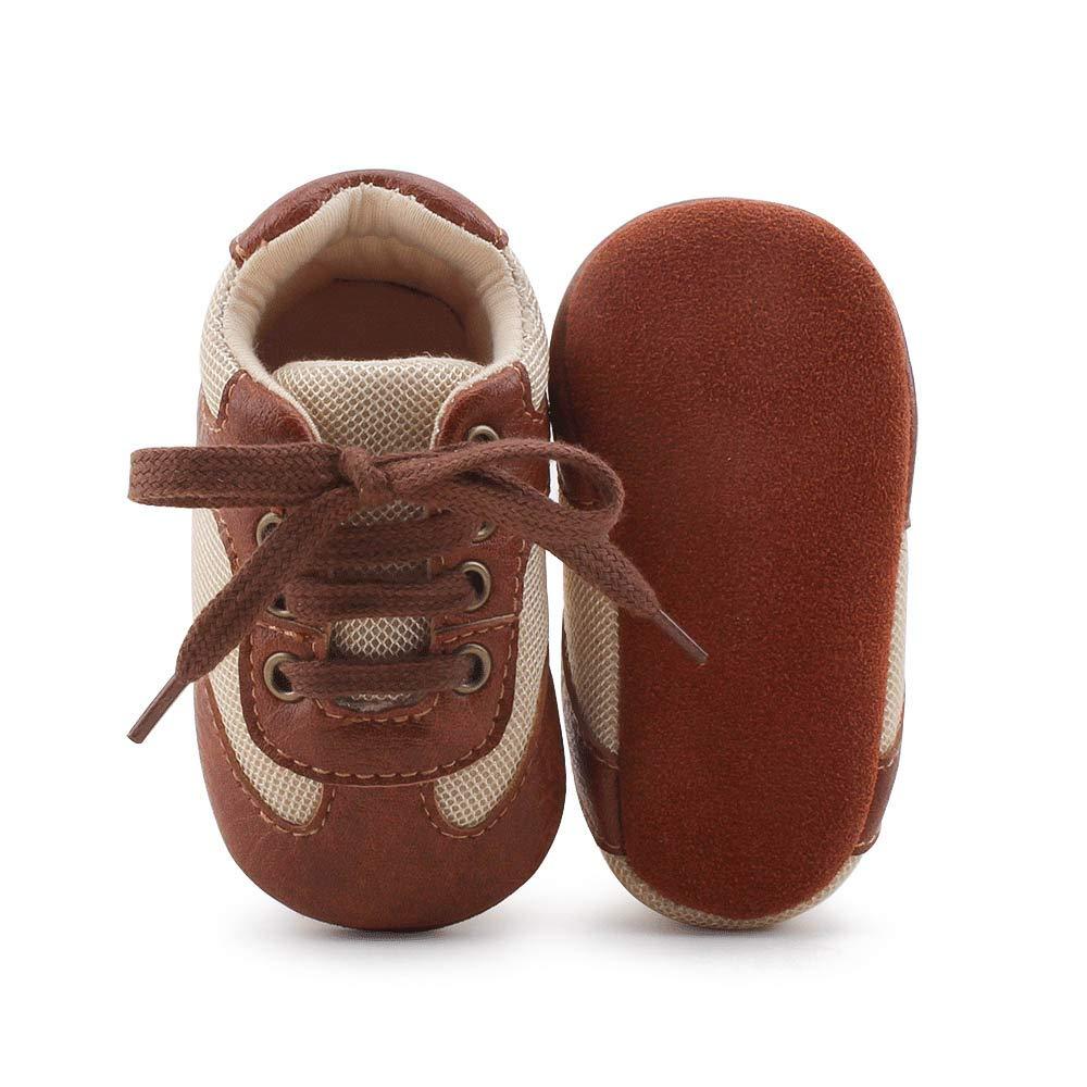 4046da2a86331 DELEBAO Chaussons Bébé Cuir Souple Chaussure Cuir Bébé Chaussures Premiers  Pas Chaussure de Marche Bébé Bottine Bébé