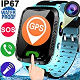 "Kids Smart Watch Phone for Boys Girls GPS Fitness Tracker Pedometer IP67 Waterproof Sport Wrist Game Smartwatch 1.44""Touch Screen with SIM Slot SOS Anti-lost Camera Alarm Flashlight for iOS Android"