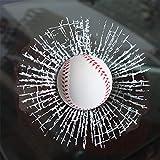 3D Ball Car Stickers, Creative Funny 3D Tennis Baseball Soccer Ball Hits Car Window Decal Stickers (White baseball)