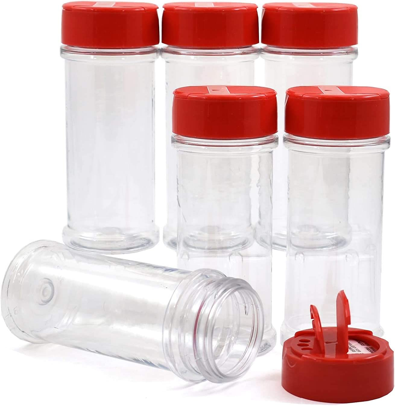 SalusWare - 6 Pack - 5.5 Oz with Red Cap - Plastic Spice Jars Bottles Containers � Perfect for Storing Spice, Herbs and Powders � Lined Cap - Safe Plastic � PET - BPA Free - Made in The USA�