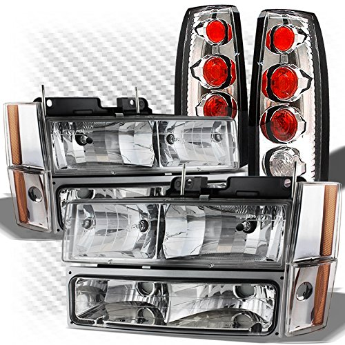 For 1988-1993 GMC/Chevy C/K Truck Headlights Bumper Set + Altezza Style Tail Lights Combo 1989 1990 1991 1992