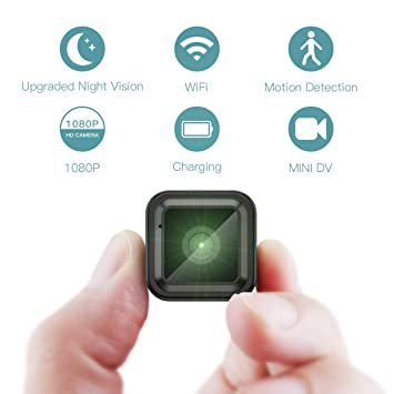 Mini Camara Espia Oculta Videocámara, CACAGOO 1080P HD WiFi Cámara 2.4Ghz Vigilancia Portátil Secreta Compacta con Detector de Movimiento IR Visión ...