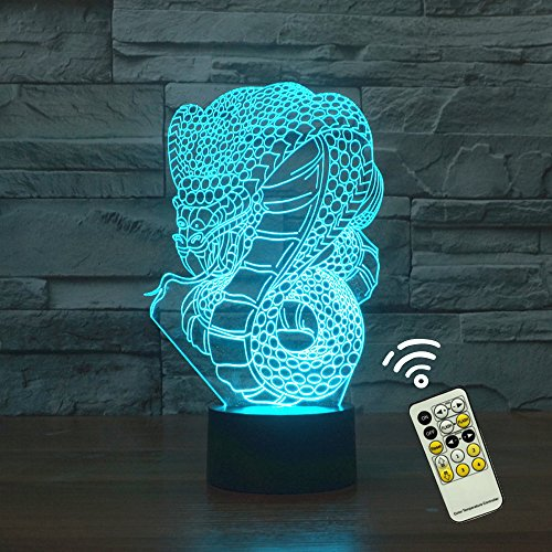 Python Animals - Animals Python 3D Night Light Table Desk Lamp, Elstey 7 Color Changing Lights with Acrylic Flat & ABS Base & USB Charger (remote control)