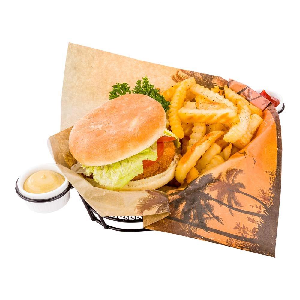 Greaseproof Paper Food Wrap, Basket Liner, Sandwich Wrap, Deli Paper - California Sunshine - 12'' x 12'' - 500ct Box - Restaurantware