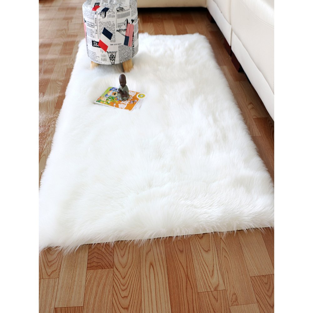 YOH Modern Imitation Sheepskin Plush Carpets Fluffy Shaggy Area Rugs for Bedroom Living Room Kids Room Home Decor Super Soft Mat 2ft x 3ft (2 x 3 Feet White)