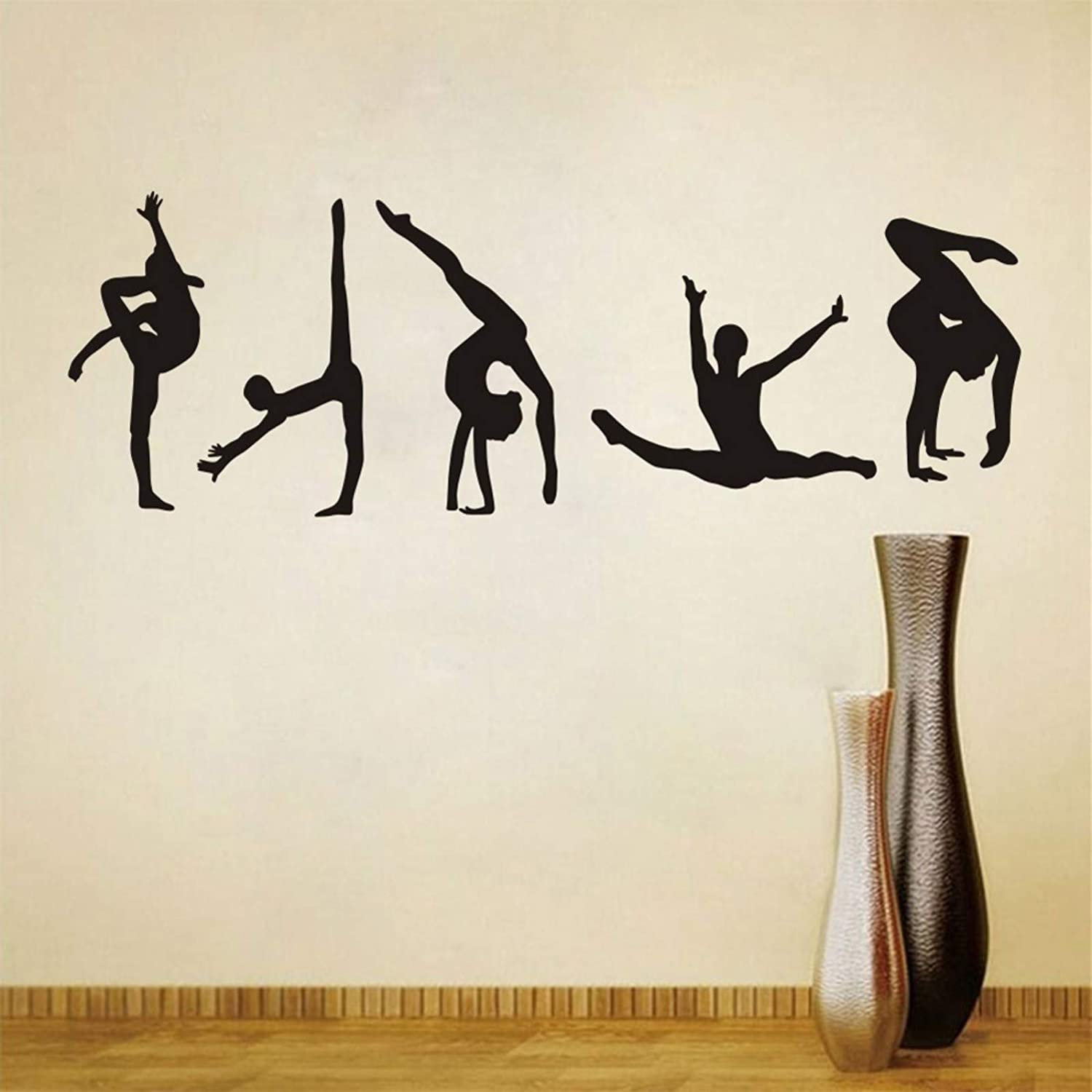 Set of 5 Pieces)Dance Gym Decor Home Decoration for Living Room Bed Room Girls Room Maydahui Dancer Wall Decal Yoga Sport Art Wall Sticker