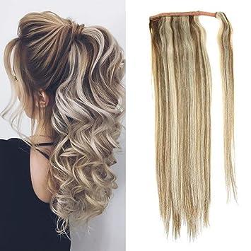 Clip In Human Hair Ponytail Wrap Extension 20 Wavy Platinum Blonde