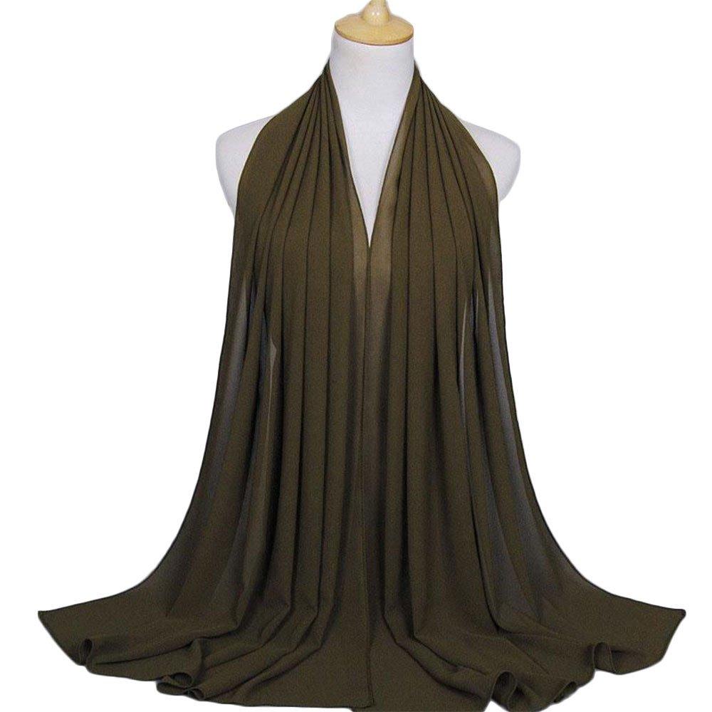 wlgreatsp Frauen und Mädchen Hochwertiger Chiffon Einfacher einfacher weicher Verpackungs Schal Leichter Schal Basic Sol Vin beauty