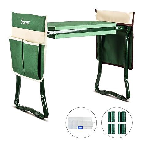 Amazon.com: Sunix - Rodillera y asiento plegable para jardín ...
