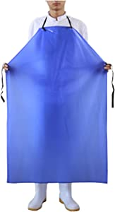 Surblue Vinyl Waterproof Apron Plus Size Heavy Duty Work Aprons Blue
