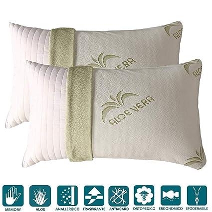 Evergreenweb - Cojín/almohada de espuma viscoelástica con lazo y funda de aloe vera, ...