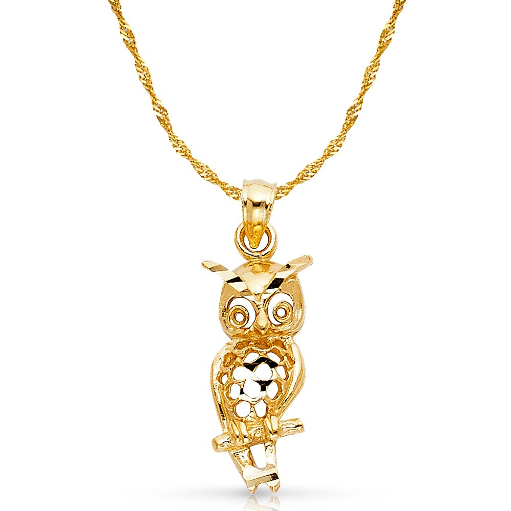 14K Yellow Gold Owl Charm Pendant with 1.8mm Singapore Chain Necklace