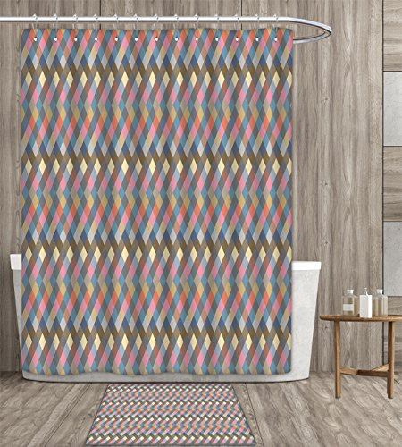 Geometric Shower Curtain customize Rhombus Shapes Diagonal Stripes Faded Colors Traditional Argyle Plaid Inspired Fabric Bathroom Set with Metal hook 72x72 inch Multicolor gift bath rug ()