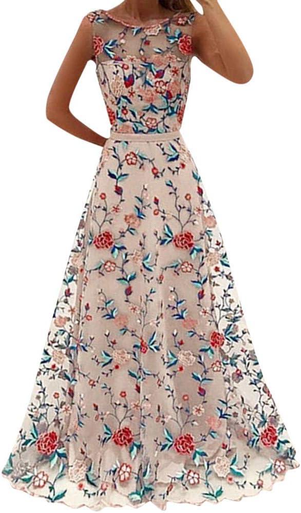 beautyjourney Elegante Vestido de cóctel de Las Mujeres Bordado ...