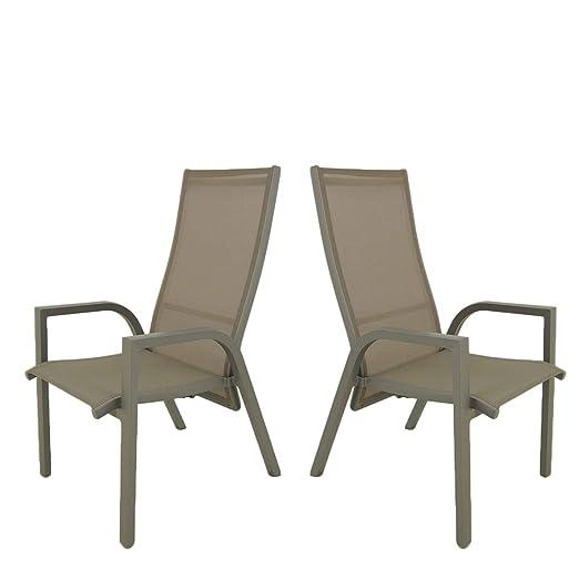 Edenjardi Pack 2 sillones de terraza, Reclinable con Sistema ...