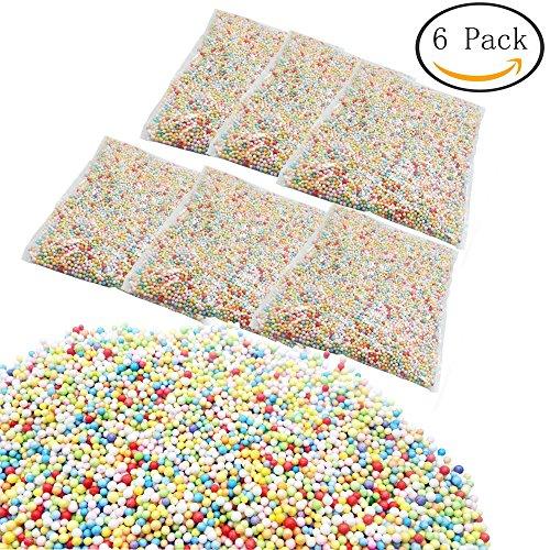 FF Elaine 6 Pack Colorful Styrofoam Foam Balls 0.1-0.14 Inch Fits for DIY Wedding Party School Home Decoration