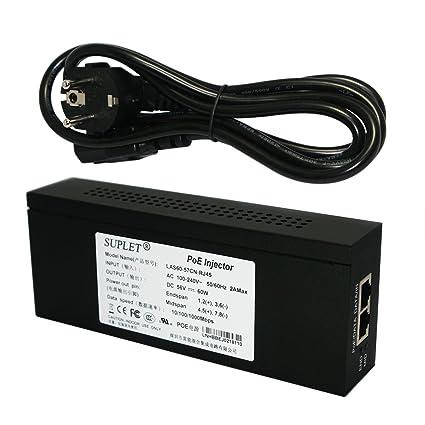 Suplet LAS60-57CN-RJ45 100-240V~ 50//60Hz 10//100//1000 Mbps PoE Injector New